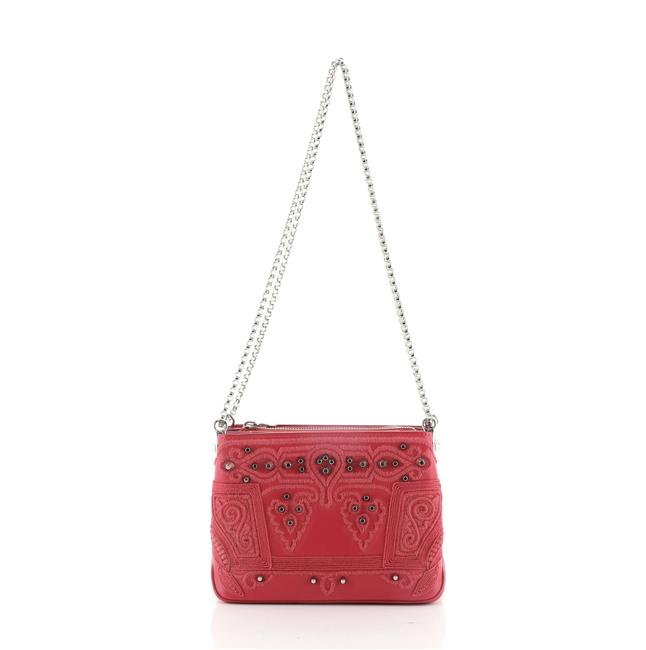 Item - Chain Triloubi Studded Embroidered Small Pink Leather Shoulder Bag