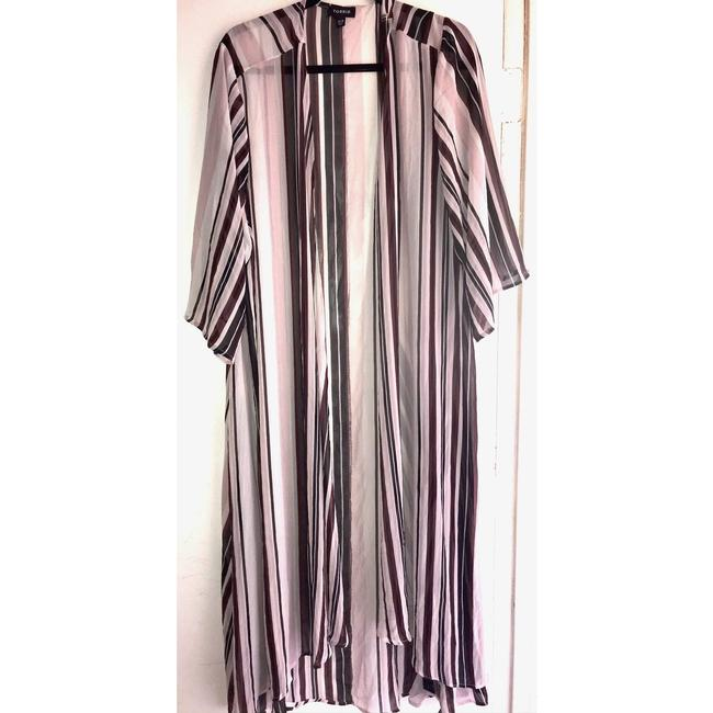 Item - Pink Kimono Cover Up 3/4 Striped Cardigan Size 28 (Plus 3x)