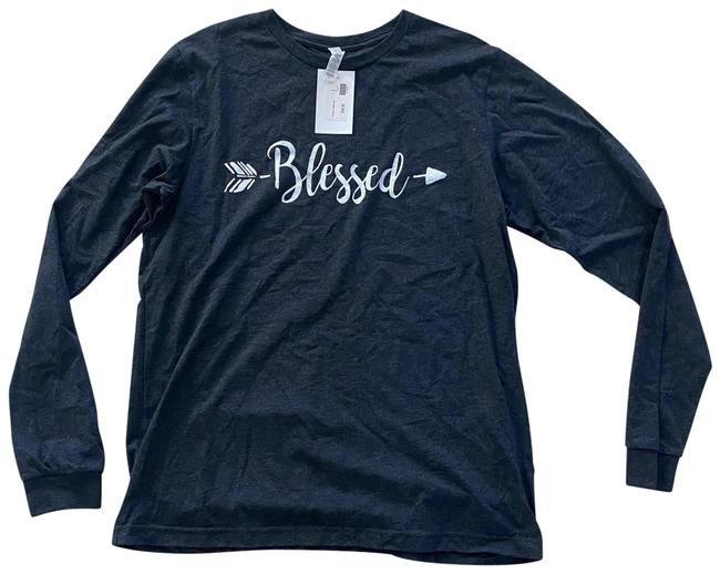Item - Gray and White L Blessed Southern Couture Lightheart Tee Shirt Size 12 (L)