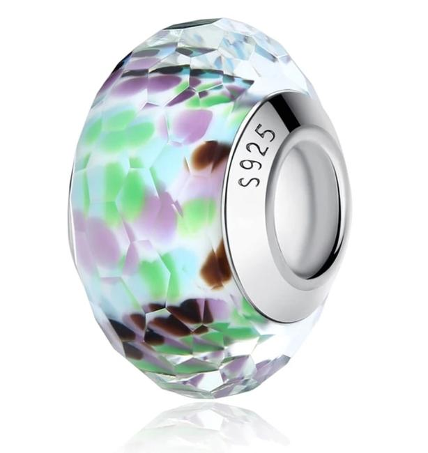 Item - Blue Green Purple White Retired Sea Glass Faceted Murano Charm