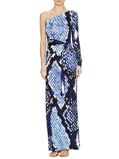 Diane von Furstenberg Blue Black and White Coco One Shoulder Long Casual Maxi Dress Size 0 (XS) Diane von Furstenberg Blue Black and White Coco One Shoulder Long Casual Maxi Dress Size 0 (XS) Image 1