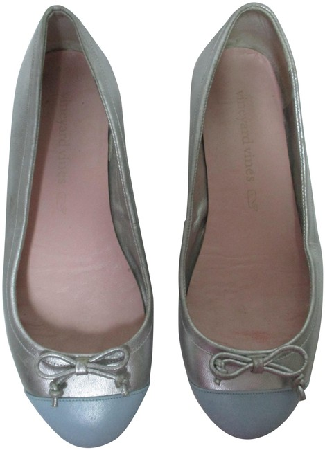 Item - Silver & Blue W Leather Color-block Ballet W/ Bow Flats Size US 9 Regular (M, B)