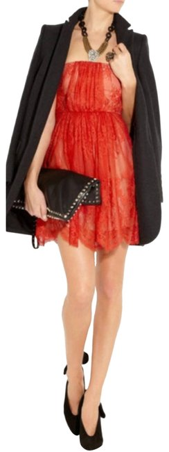 Item - Red Ruby Strapless Lace and Silk Night Out Dress Size 6 (S)