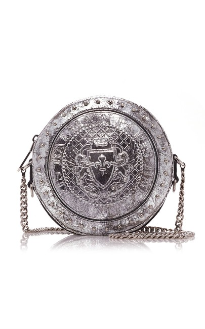 Item - New Laminated Cracked Metallic Disco Silver Leather Cross Body Bag