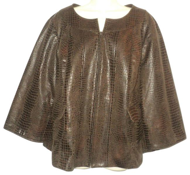 Item - Brown Faux Leather Swing Jacket Croc-look Front Zippered Coat Size 20 (Plus 1x)