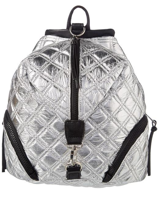 Item - Sr Squared Metallic Silver Black Quilted Nylon Backpack