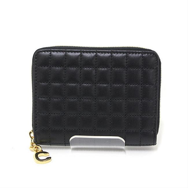 Item - Black Compact Zipped Round Zipper Calf 10b663bfl38no Quilted C Logo Charm Coin Purse Wallet