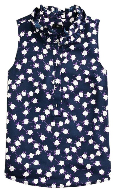 J.Crew Navy Violet XS Ruffleneck Sleeveless In Scattered Peony Print Item As425 Blouse Size 0 (XS) J.Crew Navy Violet XS Ruffleneck Sleeveless In Scattered Peony Print Item As425 Blouse Size 0 (XS) Image 1