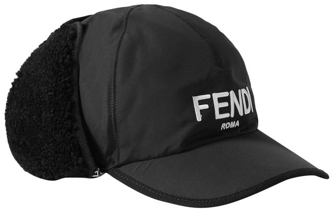 Item - Black Shearling-trimmed Embroidered Shell Baseball Cap Size Medium Hat