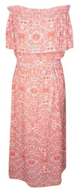 Item - Red White Midi Off The Shoulder Mid-length Casual Maxi Dress Size 0 (XS)
