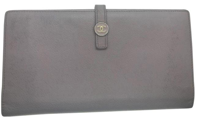 Item - Long Wallet Portefeuille Bifold Kisslock French Purple Leather Clutch