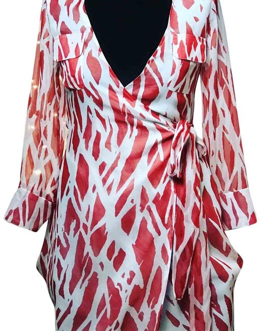 Item - Red & White Wrap Short Night Out Dress Size 2 (XS)