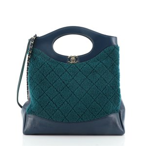 Item - Shopping 31 Quilted and Small Blue Green Shearling Leather Shoulder Bag