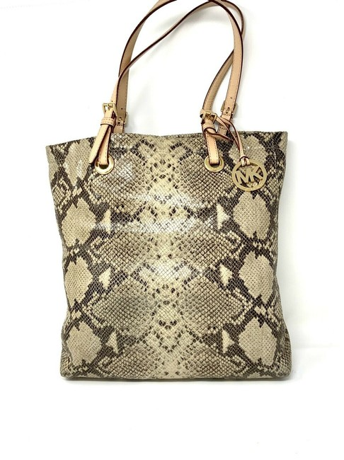Item - Python Embossed Tote - Brown and Cream Leather Laptop Bag
