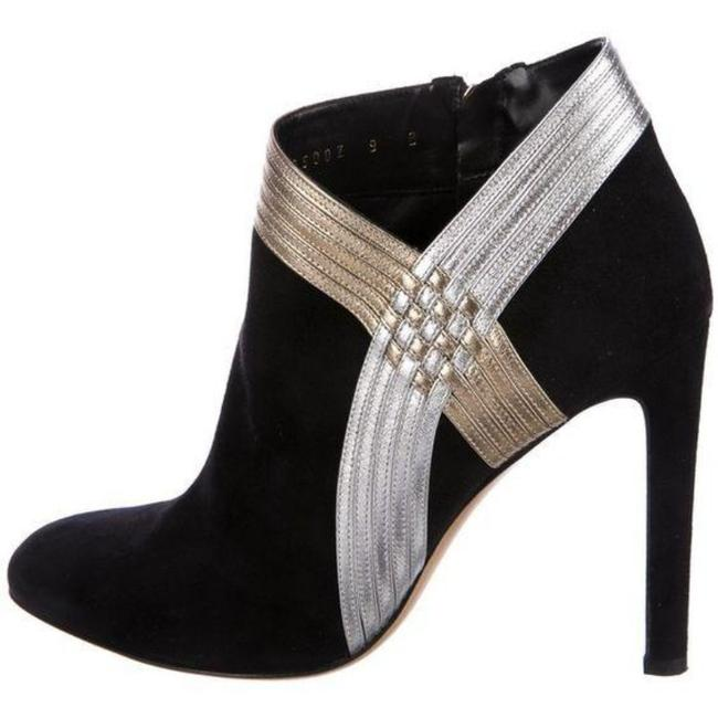Item - Black/Gold/Silver Suede Heeled Ankle Boots/Booties Size US 7.5 Regular (M, B)