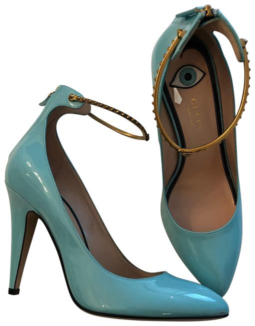 Item - Tiffany Blue With Gold Ankle Strap Pumps Size EU 39 (Approx. US 9) Regular (M, B)