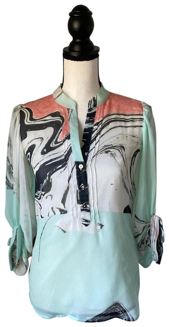 Item - Mint Green & Pink Marbled Swirl / 0 Blouse Size 0 (XS)