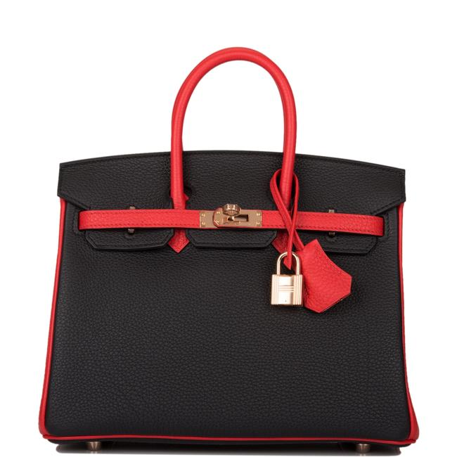 Hermès Birkin Hss Bi-color Rouge De Coeur Togo 25cm Gold Hardware Black Leather Satchel Hermès Birkin Hss Bi-color Rouge De Coeur Togo 25cm Gold Hardware Black Leather Satchel Image 1