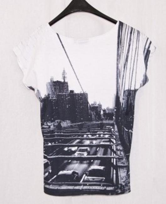 Apt. 9 Graphic Sleeved Dressy Cotton T Shirt Black and white