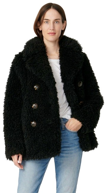Item - Black XS - New Faux-fur Double-breasted Long Sleeve Collared Peacoat Coat Size 2 (XS)