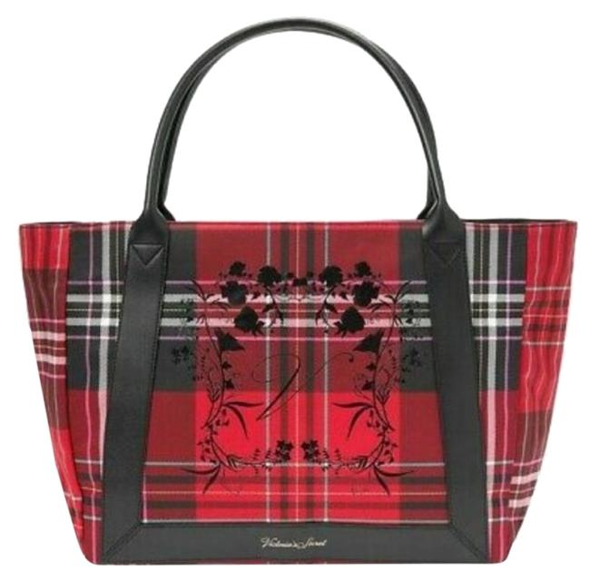 Item - Holiday Plaid Floral Red Black Pink Teal Canvas Tote