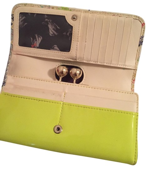 Ted Baker Wallet Limi Edition Bull Dog Neon Yellow with a Floral Print Clutch