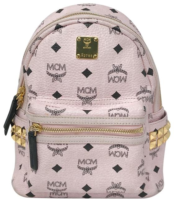 Item - Small Stark Studded Vinyl Pink Coated Canvas Backpack