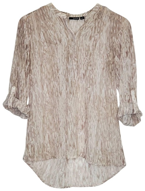 Item - Cream Printed 3/4 Sleeves Tan Blouse Size 4 (S)