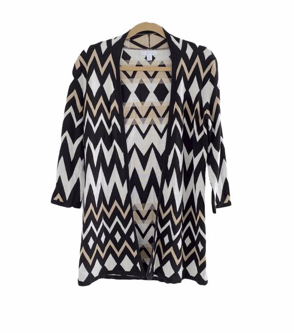 Item - Black Beige and White Patterned Cardigan Size 4 (S)