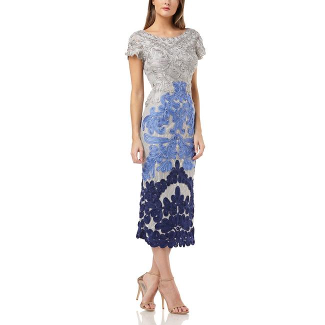 Item - French Blue Multi Soutache Two Tone Embroidered Lace Mid-length Cocktail Dress Size 8 (M)