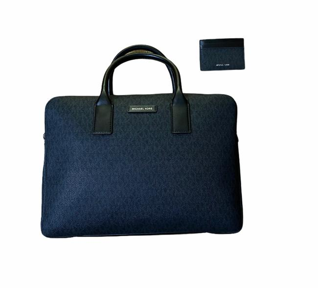 Item - Jet Set Men's Business Briefcase and Wallet Set. Grey/Black Canvas Laptop Bag