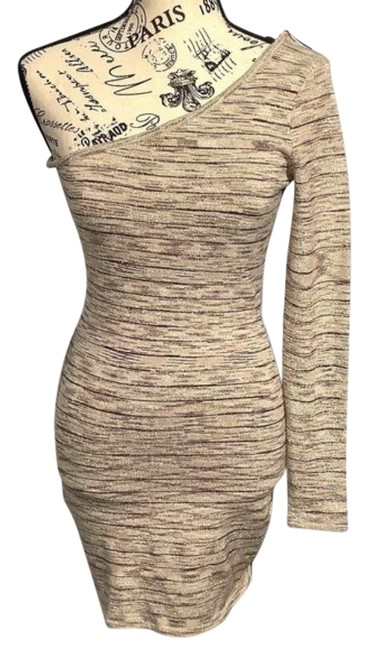 Item - Cream Brown Metallic Gold Long Sleeve Mini Short Night Out Dress Size 6 (S)