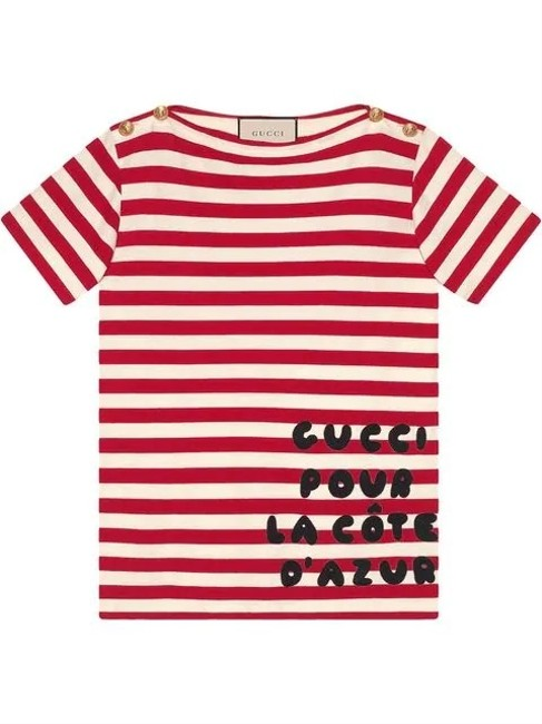 Gucci Stripe Cotton with Patch In Red Tee Shirt Size 6 (S) Gucci Stripe Cotton with Patch In Red Tee Shirt Size 6 (S) Image 1
