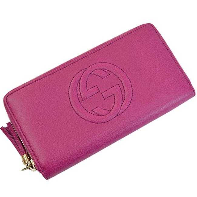 Item - Gold / Pink / Purple Long Interlocking Leather Round Fastener Ladies R7836c Wallet