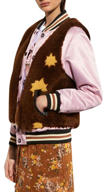 Item - Brown/Toffee/Dust Pink Sundae Shearling Varsity Jacket Coat Size 00 (XXS)