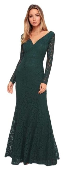 Item - Green Natural Beauty Forest Maxi Formal Dress Size 8 (M)