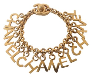 Chanel CHANEL SUPER RARE '96P GOLD PLATED CC TURNLOCK LETTER CHARM BRACELET