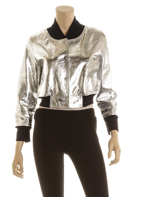 Item - Metallic Silver Oqs 500914 Leather Bomber Jacket Size 6 (S)