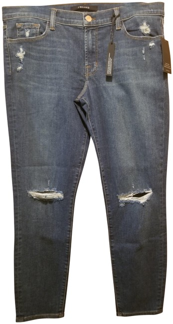 Item - Blue Distressed Low Rise Crop Skinny Jeans Size 32 (8, M)