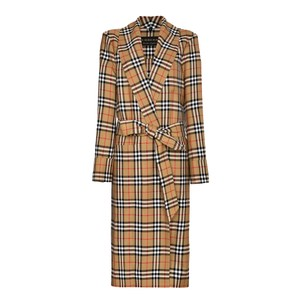 Item - Antique Yellow Reissued Vintage Check Dressing Gown Coat
