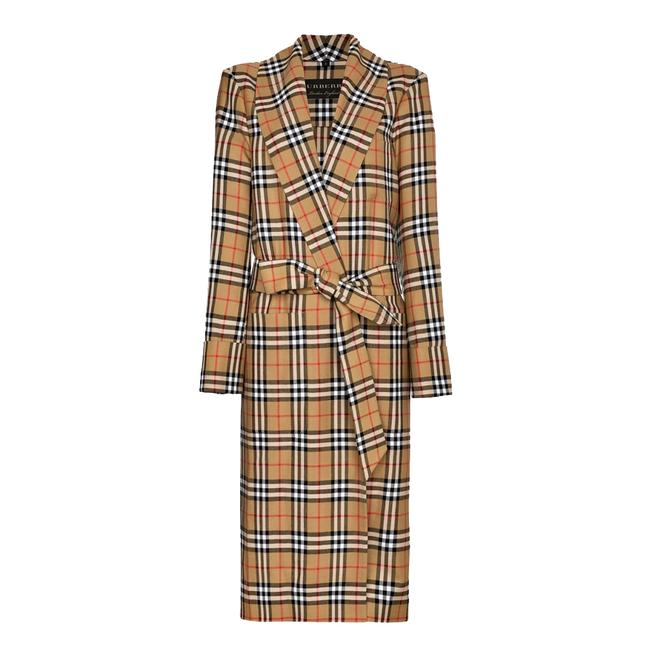 Item - Antique Yellow Reissued Vintage Check Dressing Gown Coat Size 4 (S)