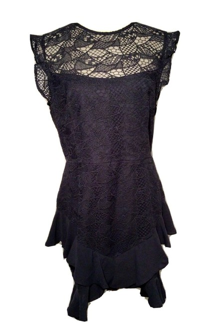 Item - Dark Blue Amore Embroidered Lace Sheath Short Casual Dress Size 14 (L)