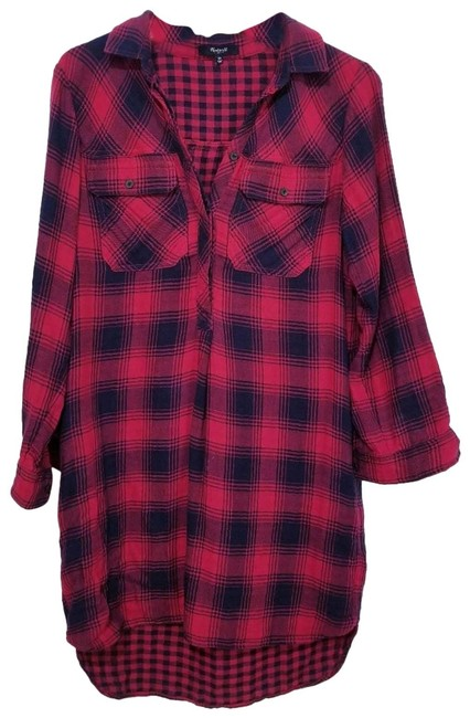 Item - Red Plaid Flannel Button Down Short Casual Dress Size 0 (XS)