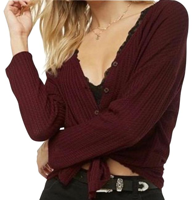 Item - Maroon Wine/Maroon Waffle Knit Thermal Button-up Tee Shirt Size 4 (S)