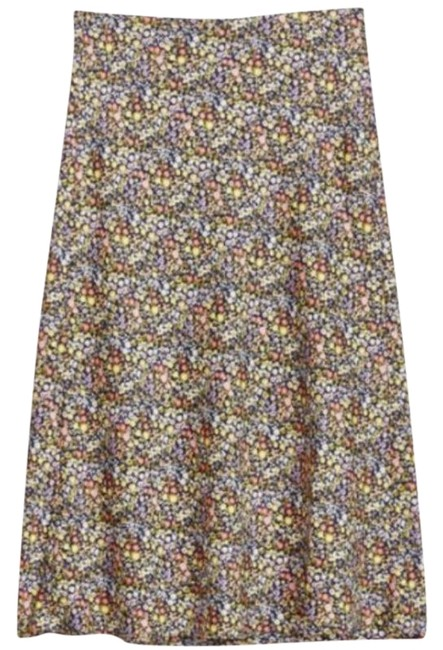 Item - Black Yellow Floral Pull On Colorful Women's Skirt Size 4 (S, 27)