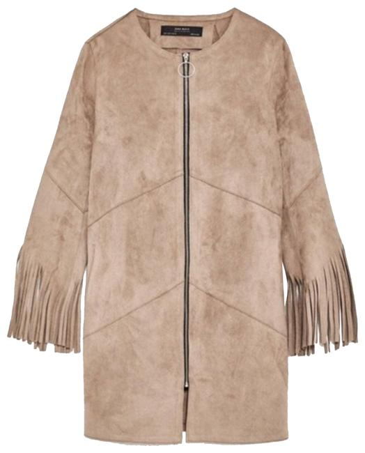 Item - Tan Vegan Suede Fringe Full Zip Jacket Size 6 (S)