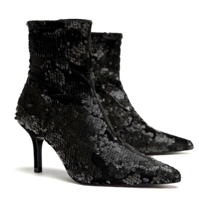 Item - Black Basic Collection Sequin Sock Boots/Booties Size EU 35 (Approx. US 5) Regular (M, B)