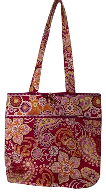 Item - Bag Large Quilted Red Purple Orange White Tote