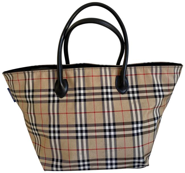 Item - Check Tan Black Nylon Tote