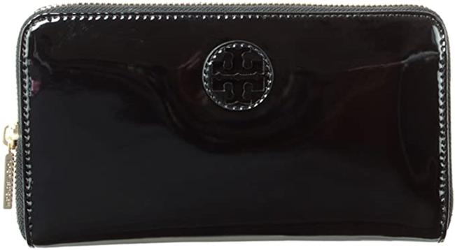 Item - Black Patent Leather Stacked Logo Zip Continental Wallet